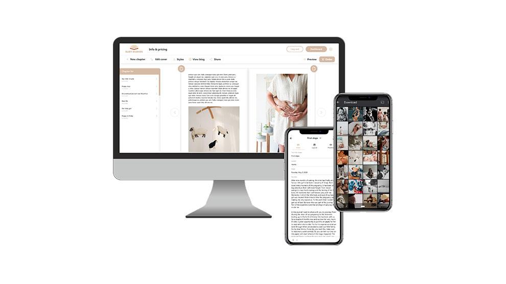 Werk op verschillende apparaten in de online Baby Diaries editor