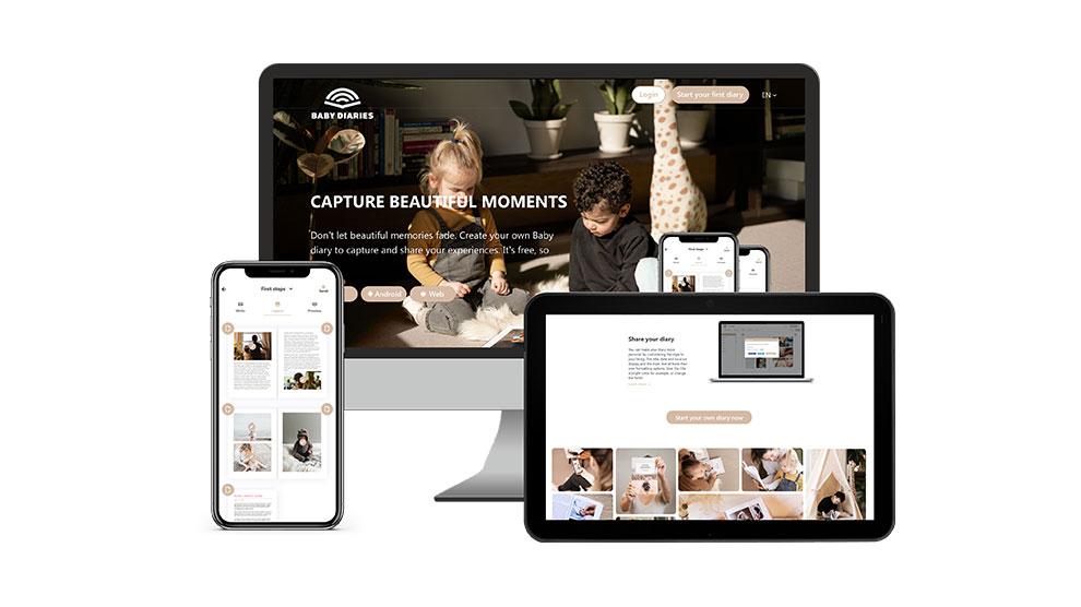 De digitale albumsoftware van Baby Diaries op verschillende schermen