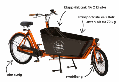 cargo bike of the cargo bike rental scheme in Rostock