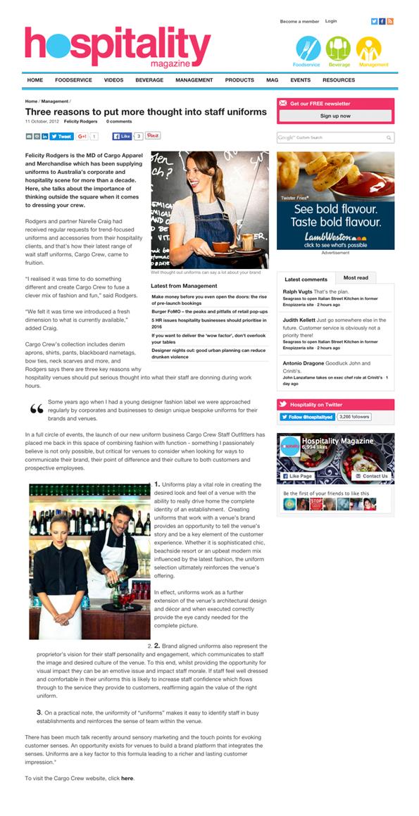 Cargo Crew Press   Hospitality Magazine