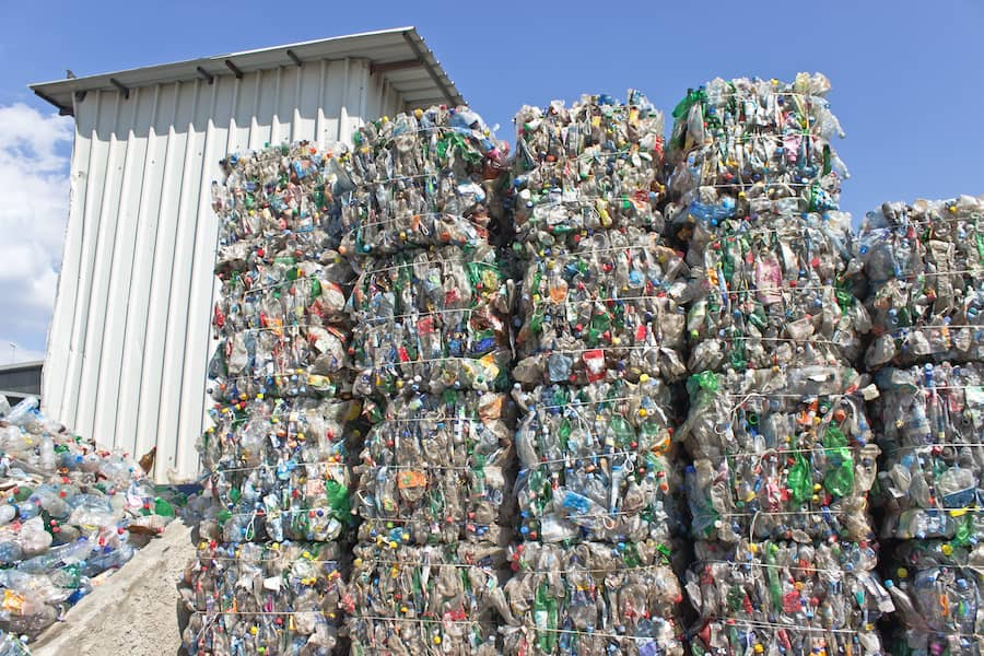 Stacks of plastic bottles ready for recycling