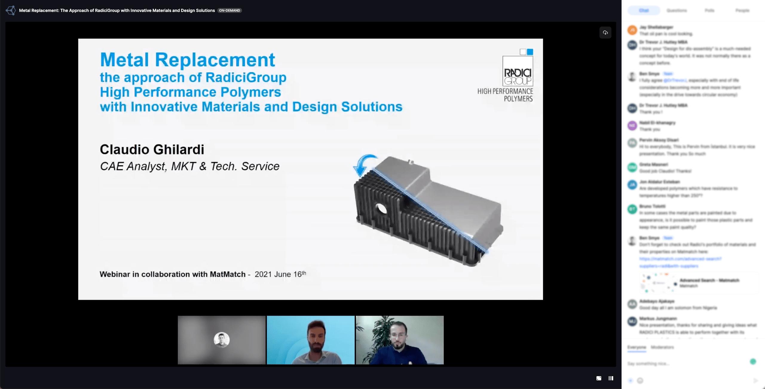 RadiciGroup webinar - screenshot from the webinar