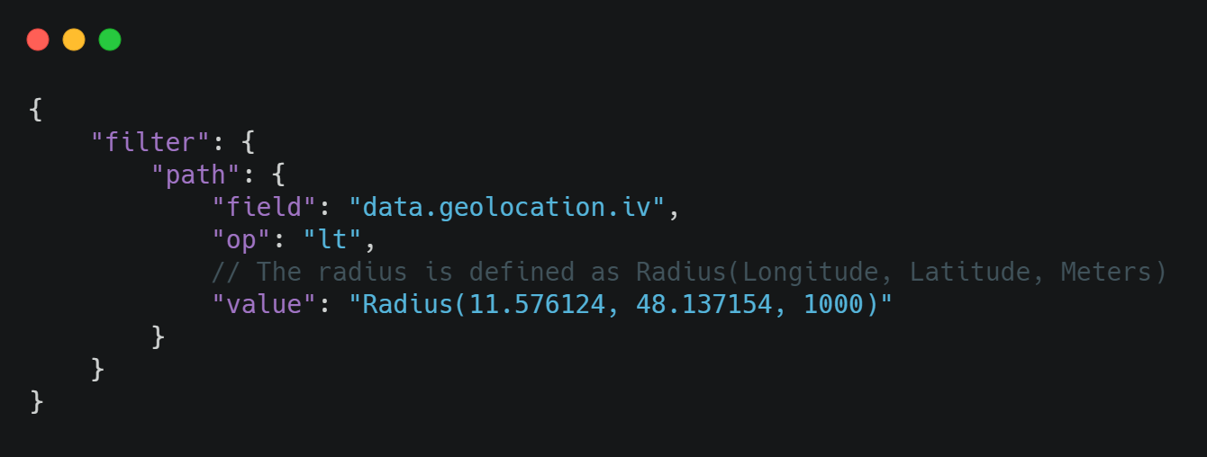 Geolocation Search with JSON query