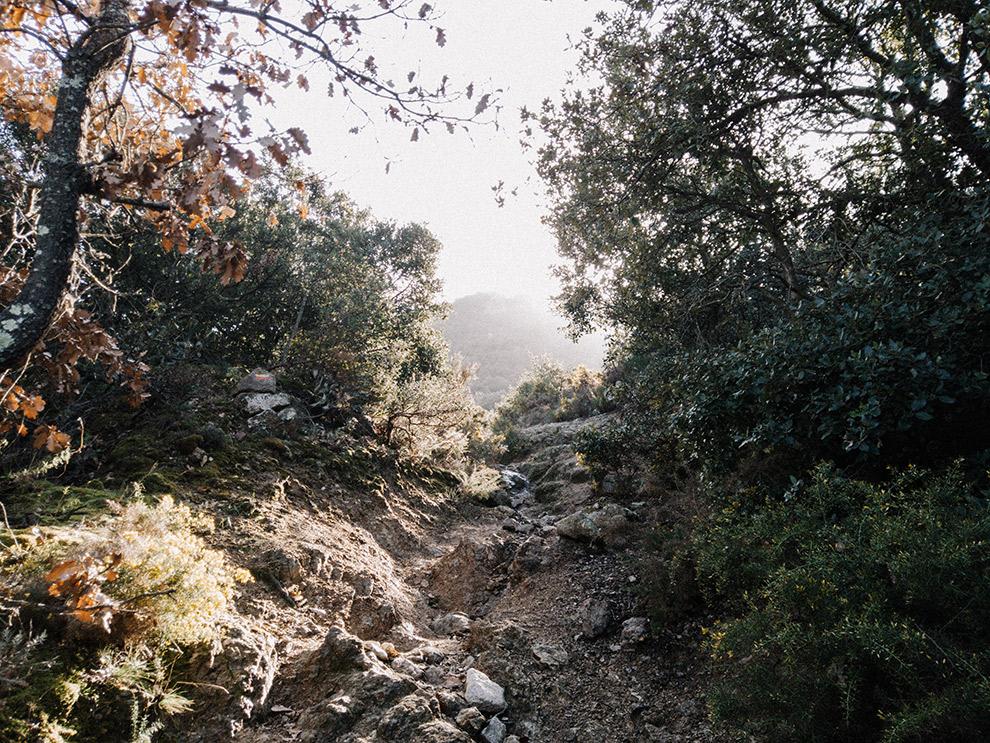 Klein riviertje stroomt tussen de rotsen en steile hellingen door