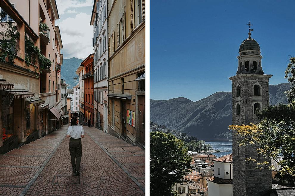 Charmante en tropische straten van Lucerno in Zwisterland