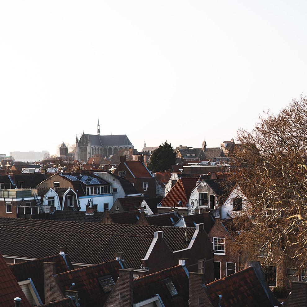 Uitzicht over de bruine daken van Leiden