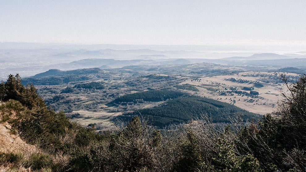 Uitzicht over de Puy de Dôme in Frankrijk