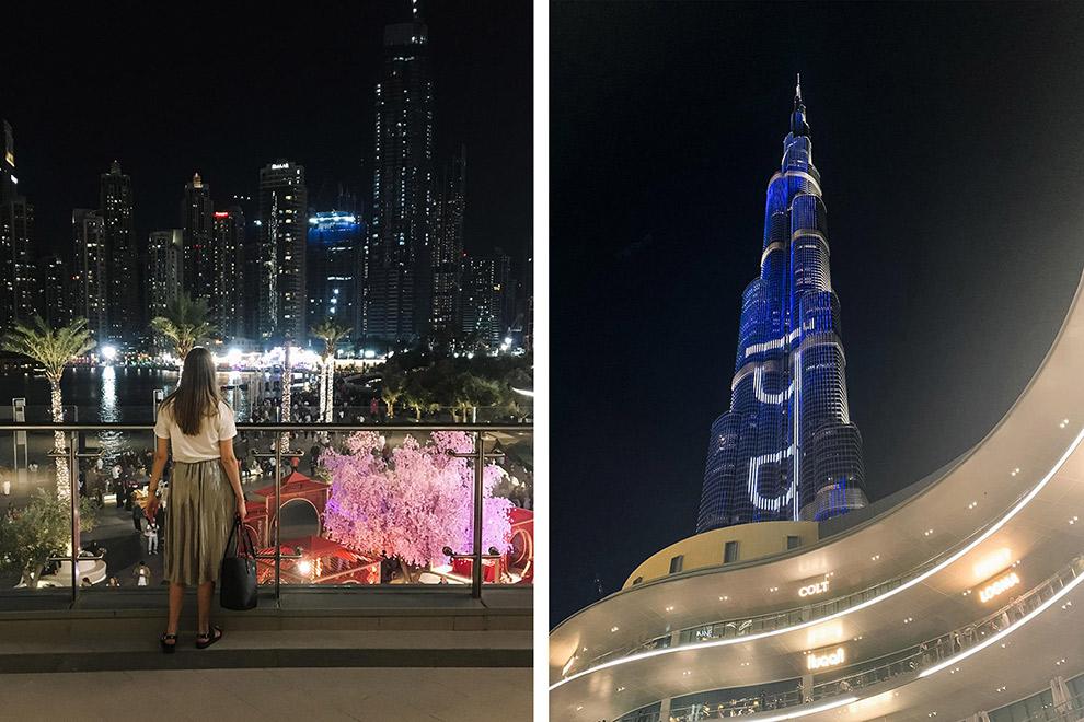 Dubai in de avond: uitzicht op dure vijfsterren hotels