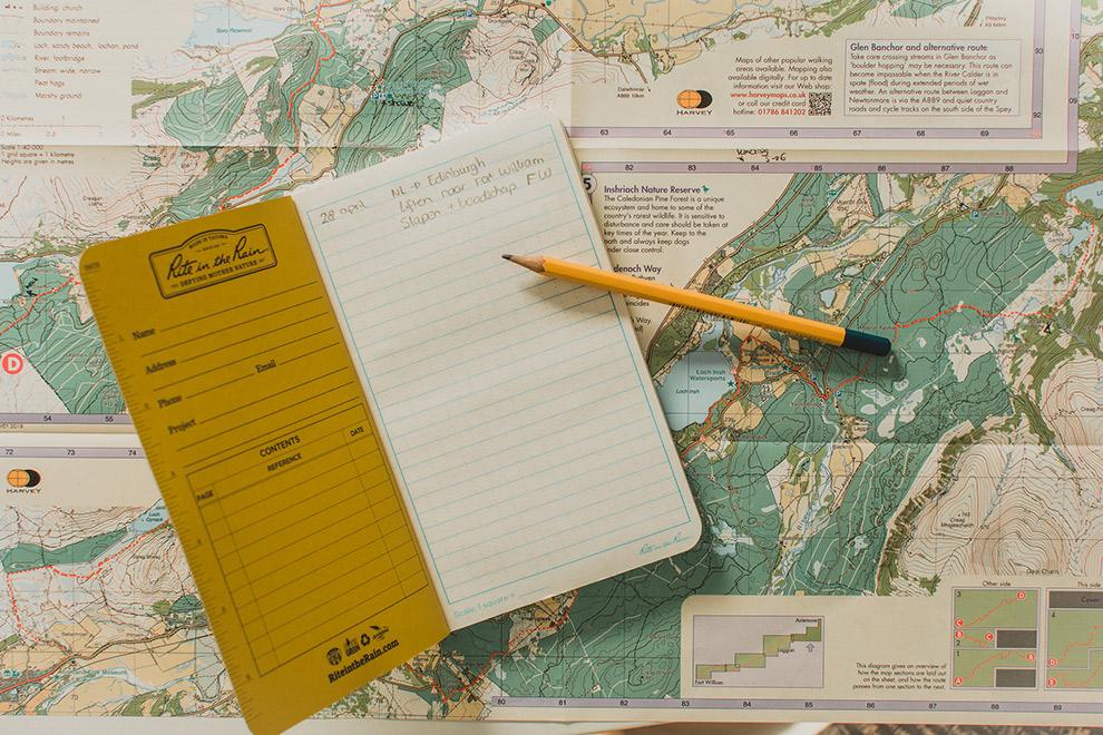 Routekaart met aantekeningenboekje
