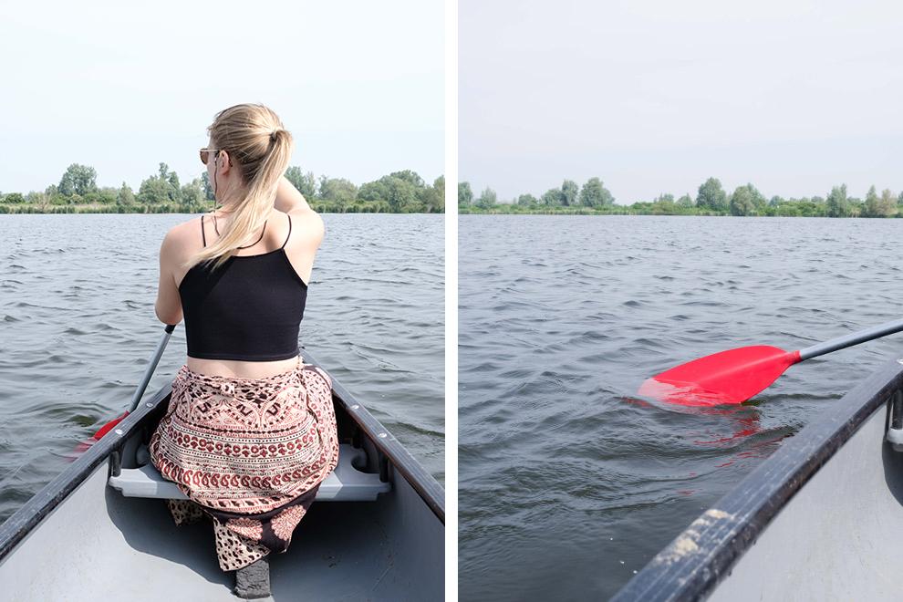 Kanoën op het rustige Noorderplassen water in Almere
