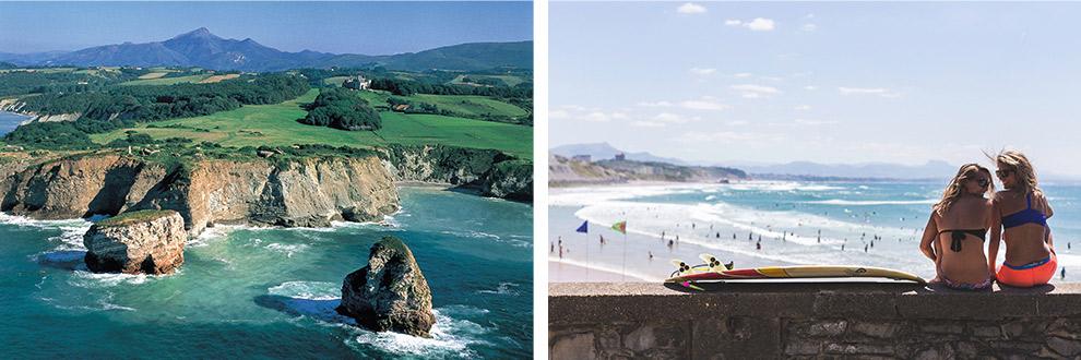 Wilde kustlijn van Hendaye en surfen in Biarritz