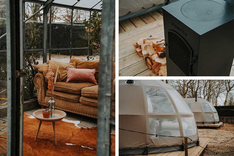 Gezellige inrichting van panorama dome in Parc Buitengewoon
