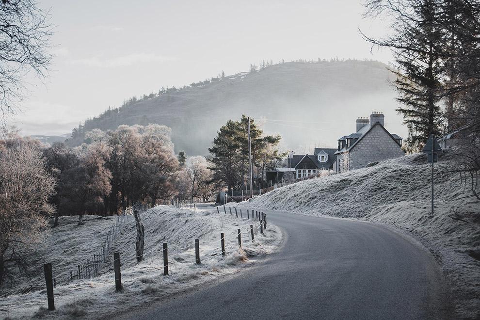 Sprookjesachtig winterlandschap in Schotland