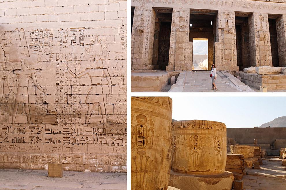 Egyptische tempels omringd door reliëfs