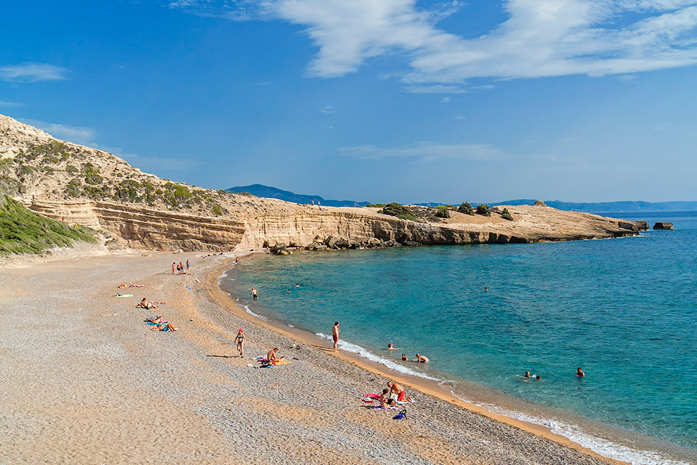 Breed zandstrand op Rhodos, Griekenland