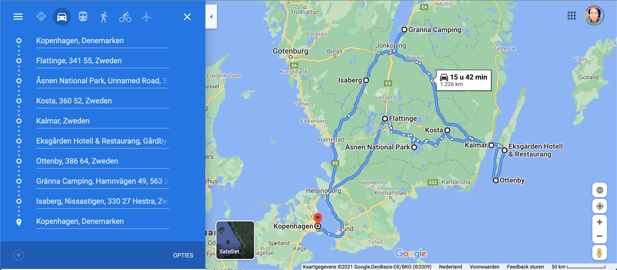 Roadtrip route Zuid-Zweden
