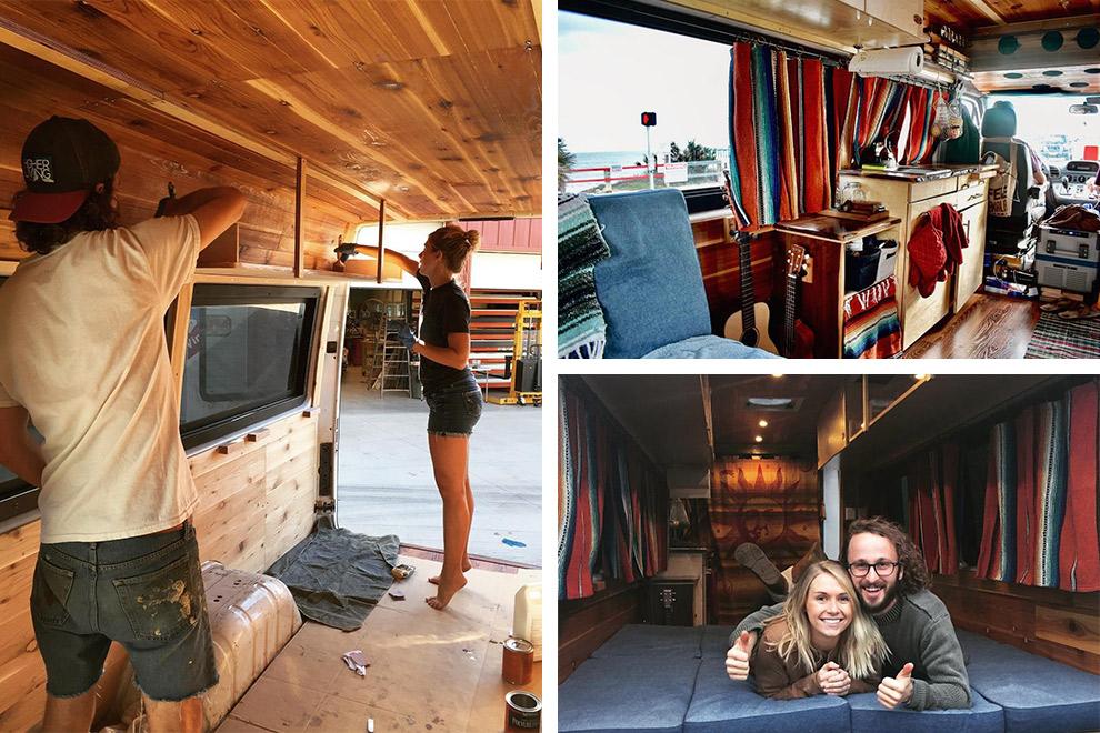 Collage: stel en hond bouwen busje om tot campervan