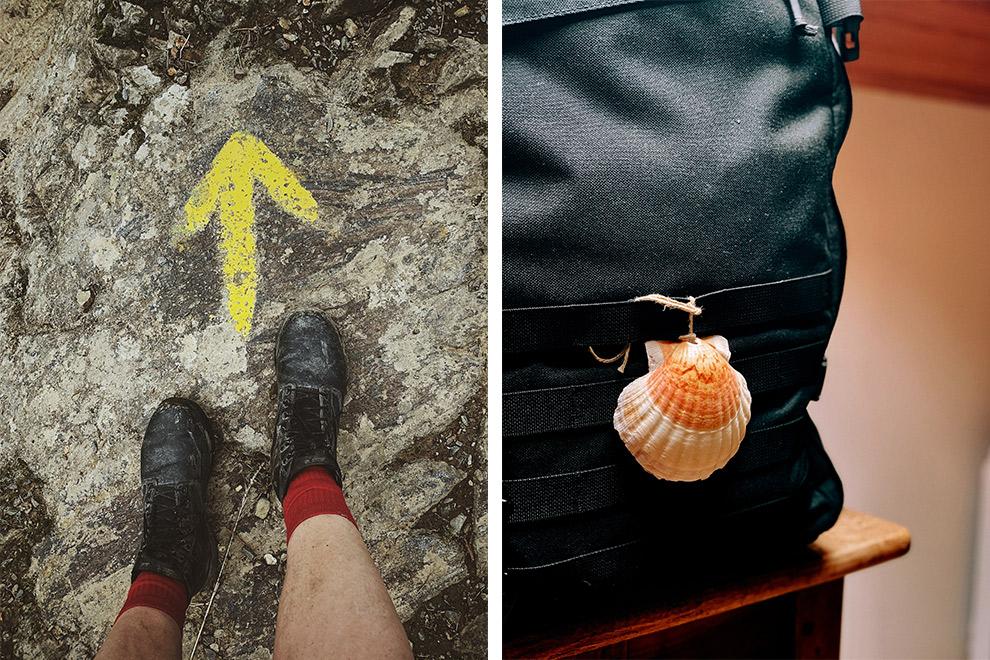 Wandelen met het symbool van Camino de Santiago: de Jacobsschelp