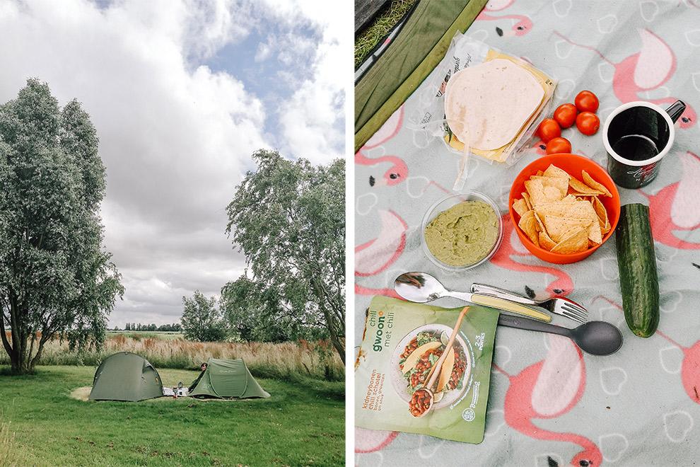 Tent opzetten en picknicken in het Lauwersmeergebied