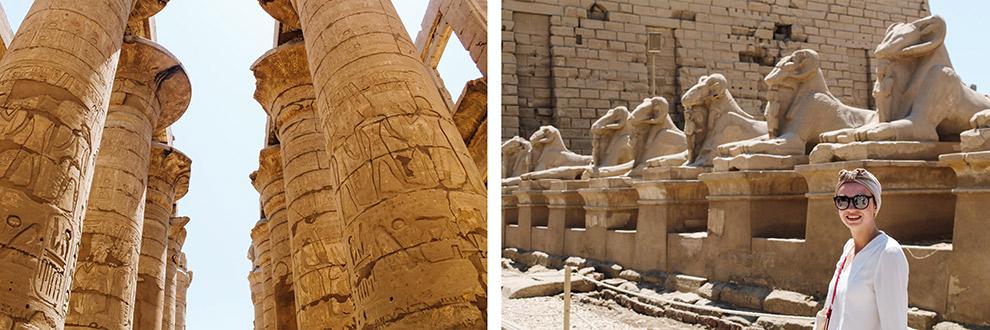 Zeulen en beelden in tempelcomplex van Karnak