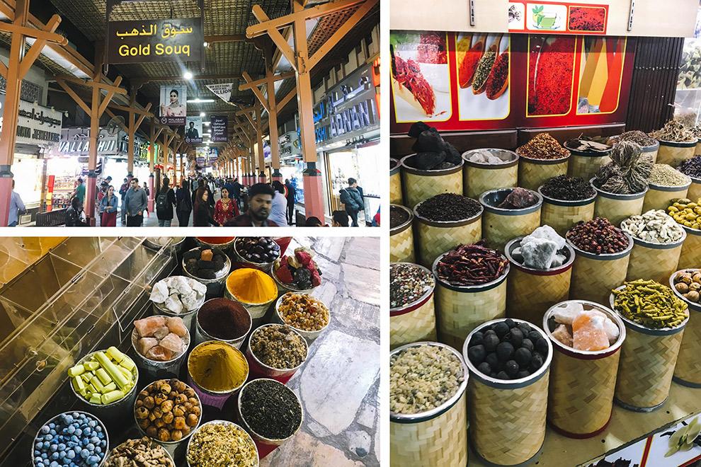 Kleurrijke specerijen in de traditionele Souks van Dubai