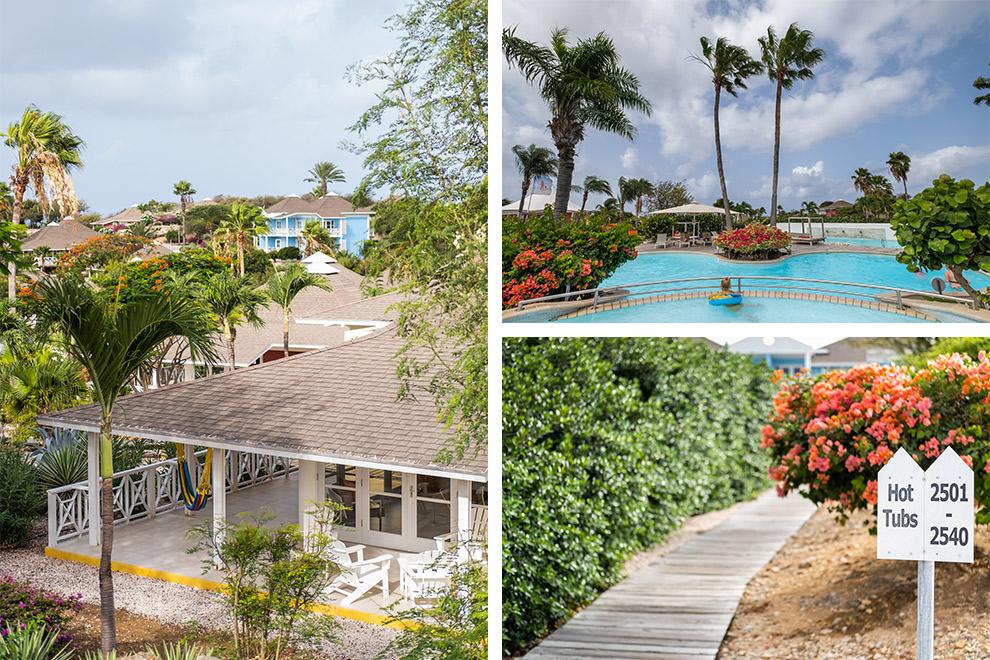 Kleurrijke Chocogo resort aan het strand in Curaçao