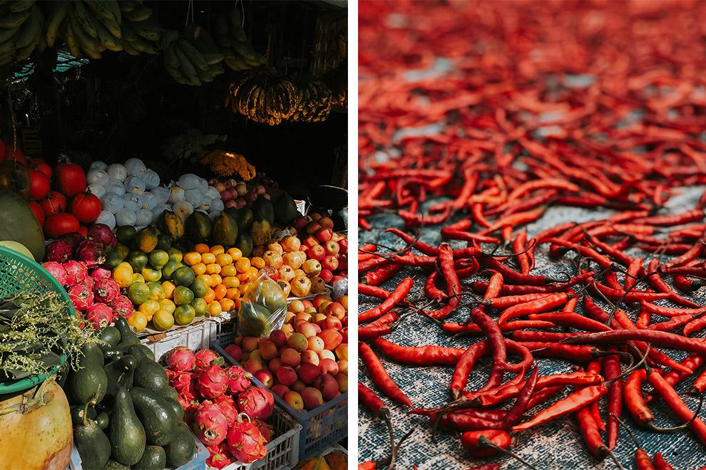Kleurrijke vruchten op lokale markt in Myanmar