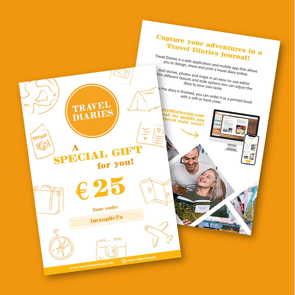 Geef een dagboek cadeau via de Travel Diaries giftcard