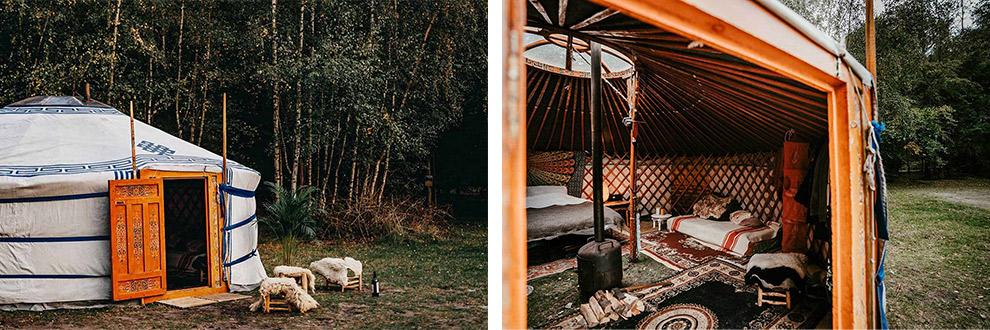 Kamperen in een winters warm ingerichte Yurt