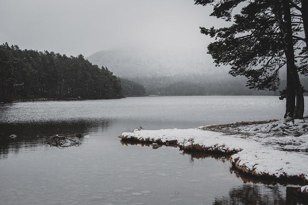 Met sneeuw bedekte oever in Cairngorms Nationaal Park