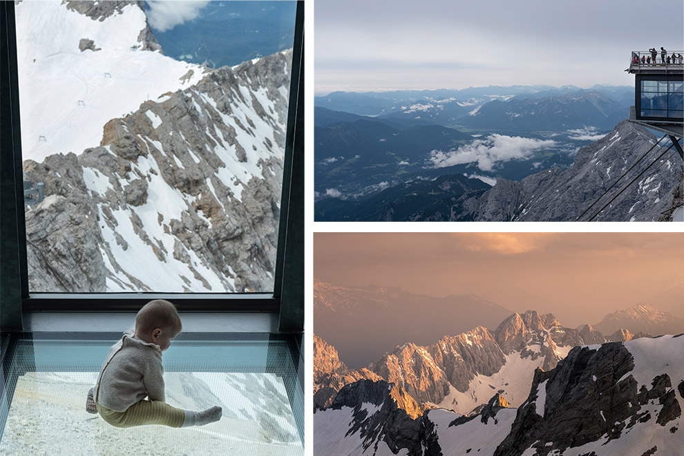 Met baby op de top van Zugspitze in Tirol