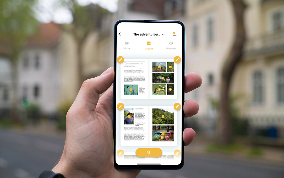 Fill diary with photos, texts and maps in the mobile app editor