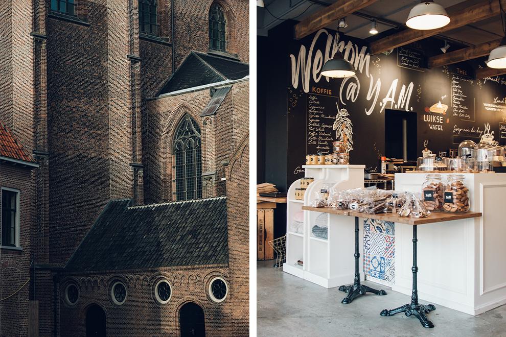 Stadsbeeld van Harderwijk en koffie halen in een cafeetje