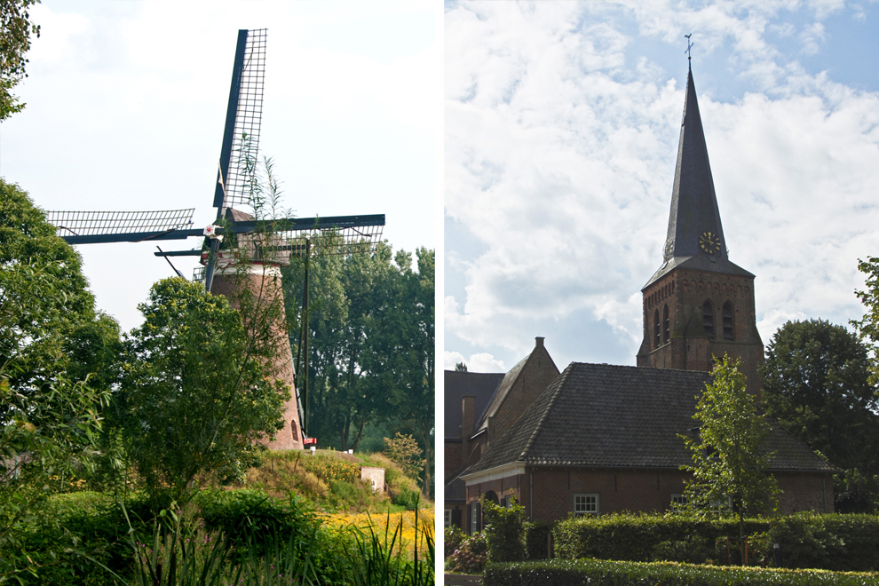 Kerk in Helvoirt en molen De Roosdonck