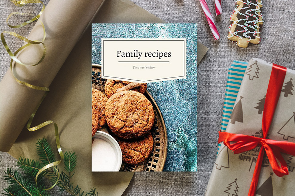 Recipe diary ready to be wrapped up for the holidays