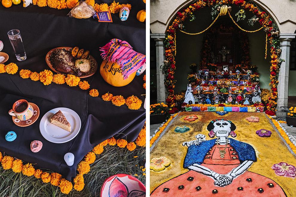 Typisch Mexicaanse ofrendas tijdens Dia de los Muertos