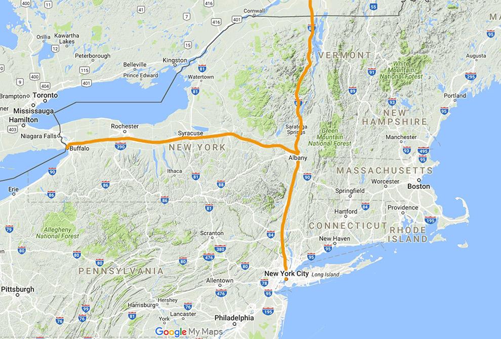 Wandel of fietsroute van New York via Buffalo, naar Canada