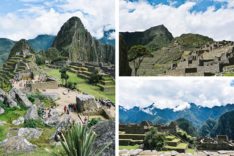 Toeristen banen zich een weg door de Inca-ruïnes van Machu Picchu