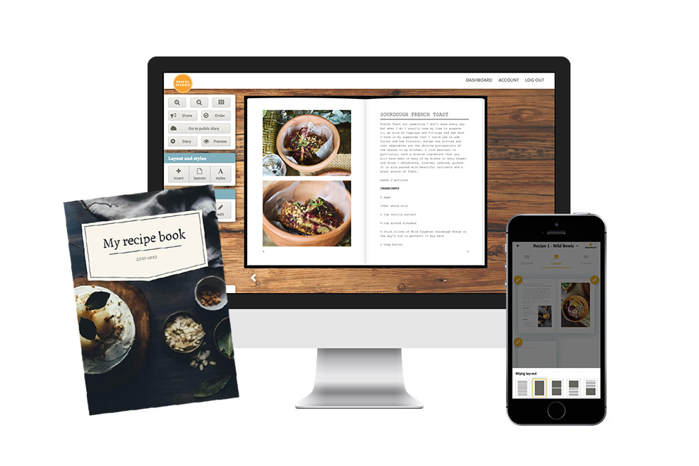 Personalize your recipe book with layouts and photos on computers, tablets and mobile phones