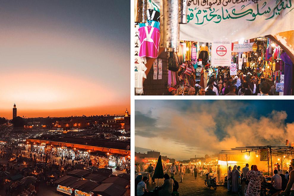 Een collage: drukte en rommeligheid in de straten van Marrakech