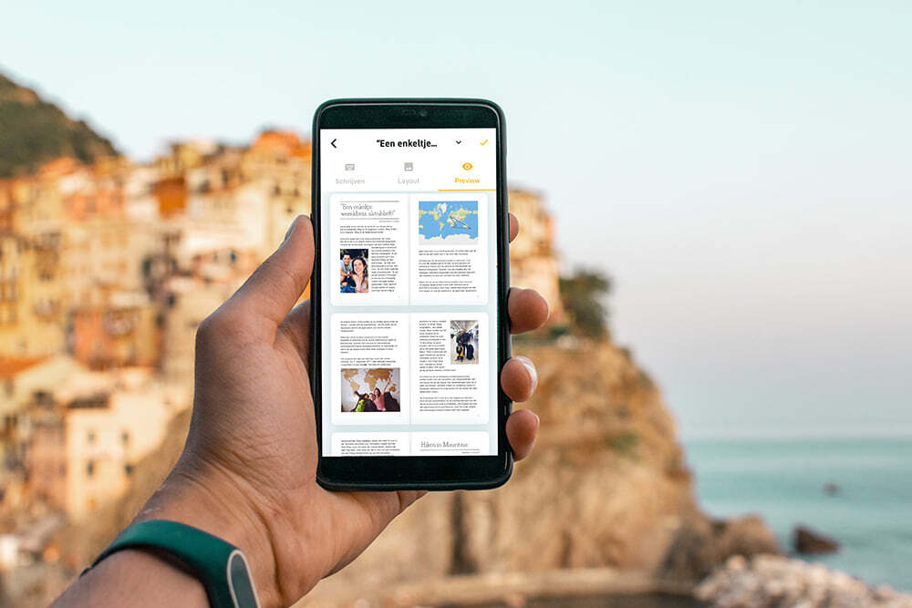 De dagbek editor van Travel Diaries in de mobiele app