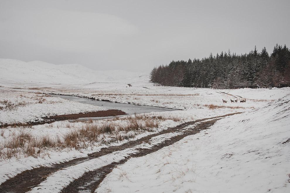 Beekje stroomt door met sneeuw bedekt landschap in Schotland