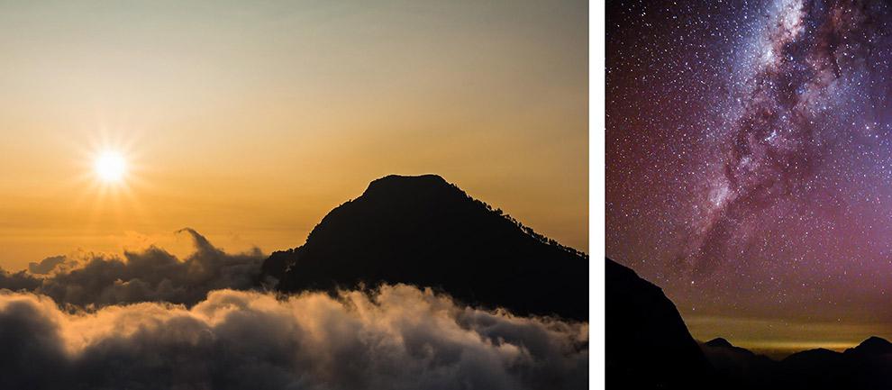 Sterrenhemel en melkweg zichtbaar vanaf vulkaan in Indonesië