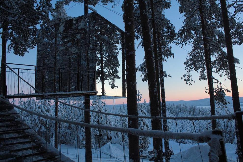 Slapen in een met sneeuw bedekte bomen in de bossen van Zweden