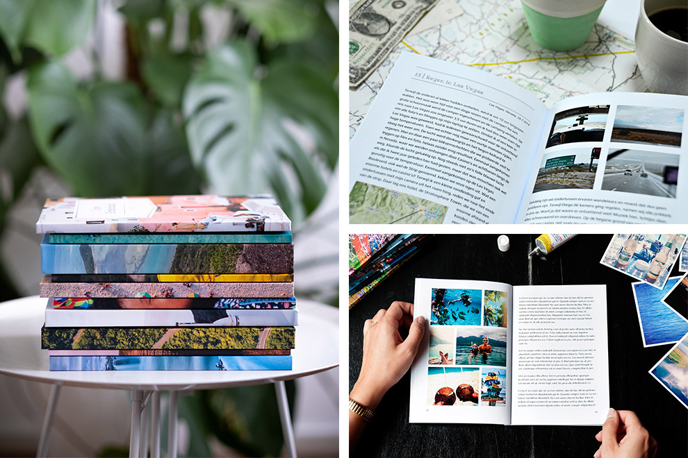 Personalized diaries with photos, texts, maps and a beautiful cover