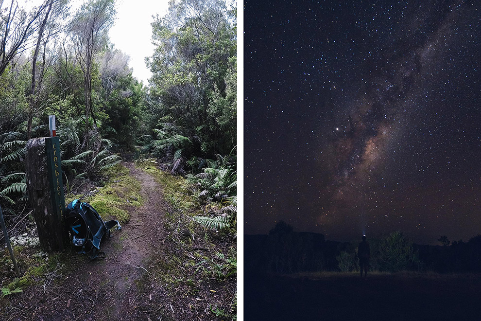 De Te Puru track overdag en 's nachts onder een heldere sterrenhemel
