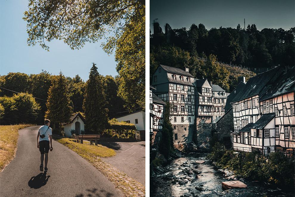 Een collage: wandelen over heuvels en langs dorpjes in de Duitse Eifel