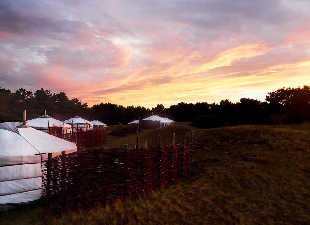 Texelse Yurt in de avondzon