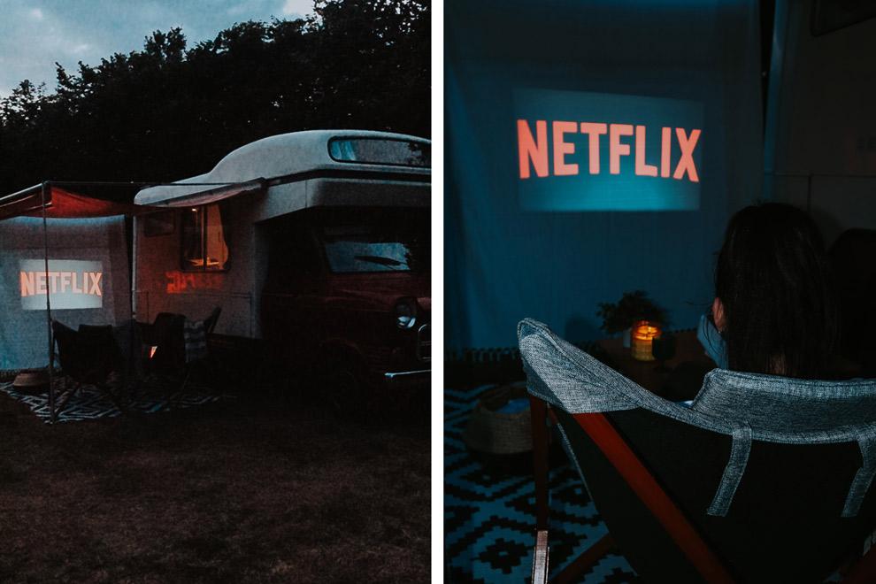 Netflixen bij de DUMDUM camper op de Veluwe