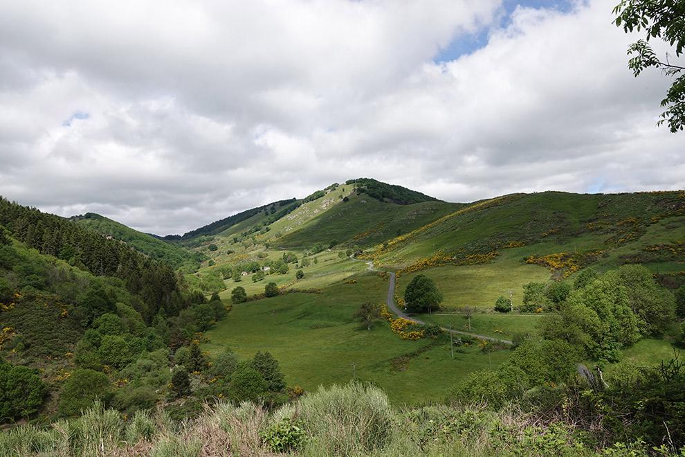 De groene heuvels van Cevennes National Park in Frankrijk
